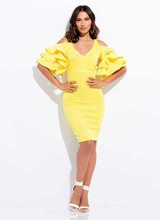 Clear As A Bell Ruffle Sleeve Midi Dress