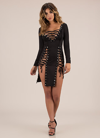 I Can't Even Lace-Up Double Slit Dress