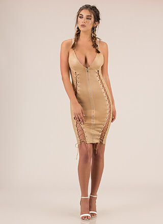 Strings And Zips Excite Me Midi Dress