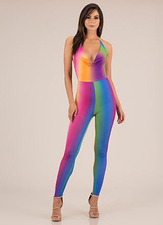 In Full Color Ombre Halter Jumpsuit