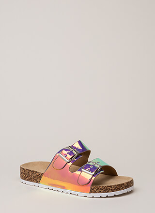 Unicorn Dreams Holographic Slide Sandals