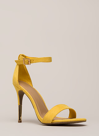 Just The Tip Strappy Faux Suede Heels
