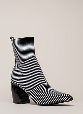 Line Starts Here Knit Pinstriped Booties