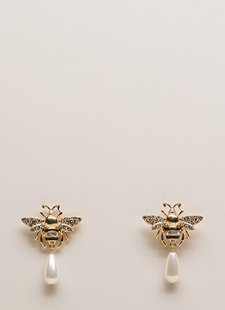 Buzzing Bees Jeweled Faux Pearl Earrings