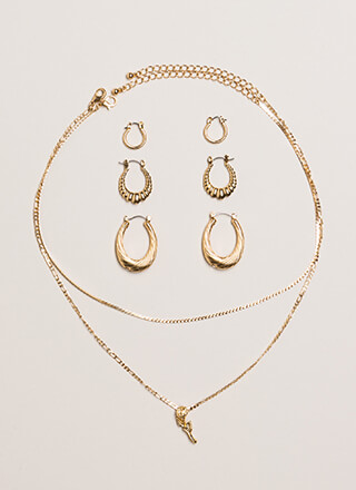 Rose And Shine Necklace And Earring Set