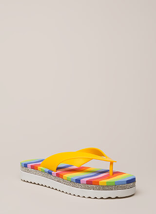 My Rainbow Jeweled Platform Sandals
