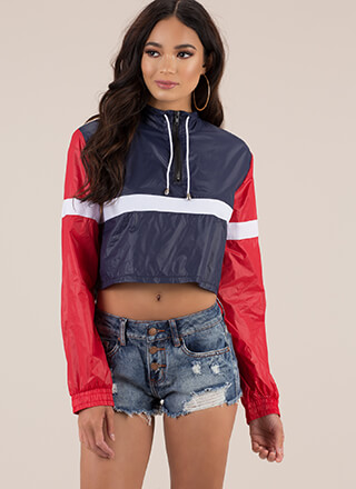 Stay Cool Cropped Colorblock Windbreaker