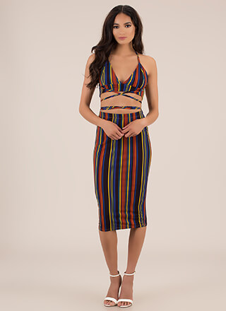 The Game Is Tied Striped 2-Piece Dress