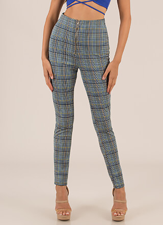 Plaid Pick High-Waisted Skinny Pants