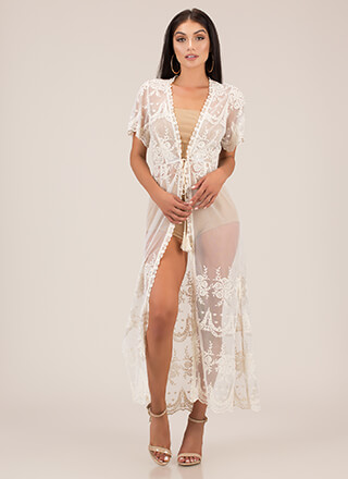 Sheer Beauty Tie-Front Lace Duster