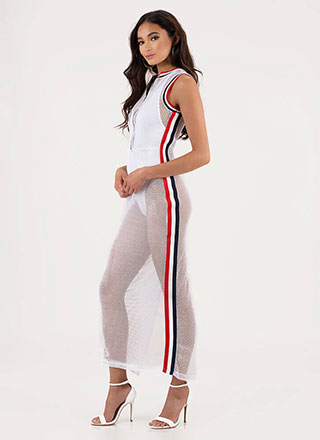 Net Worth Striped Sports Mesh Maxi