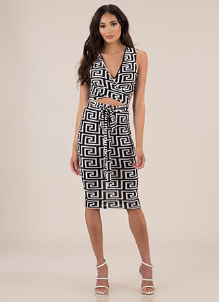 The Greek Key To Success 2-Piece Dress