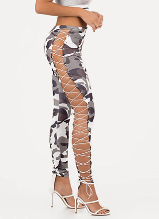 Rise In The Ranks Camo Lace-Up Leggings