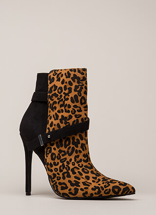 Strap On Pointy Printed Stiletto Booties