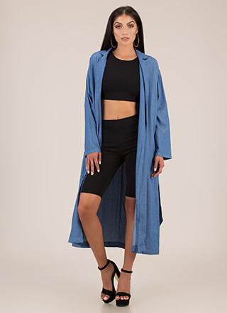 Do It In Denim Trench Coat Duster