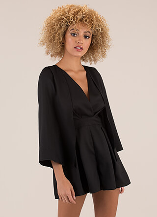 Flying High Pleated Caped Romper