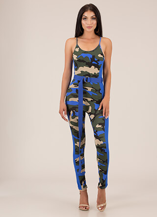 Secret Mission Belted Camo Jumpsuit