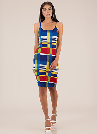 Modern Technology Abstract Print Dress