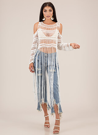 Long Time Coming Fringed Crochet Top