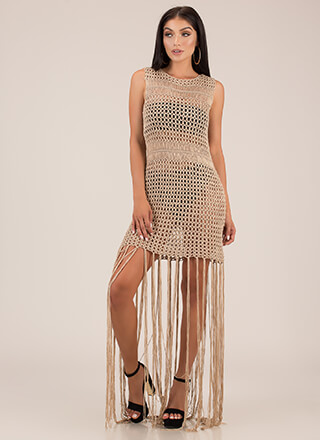 Slip Thru The Net Fringed Crochet Maxi