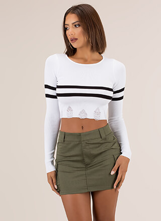 Two Stripes Distressed Cropped Sweater