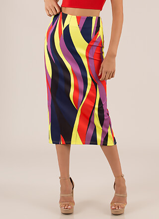 New Flame Abstract Print Midi Skirt