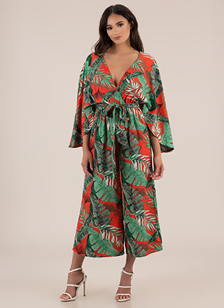 Work Leave Tropical Palazzo Jumpsuit