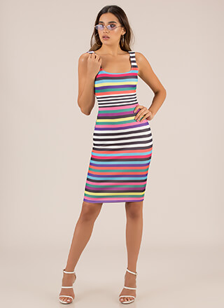 Color And Pattern Striped Midi Dress