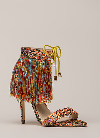 Serious Fringe Basketwoven Heels