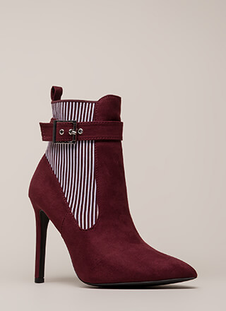 Stripe My Fancy Stretchy Pointy Booties