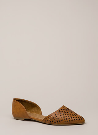 Chic Speak Latticed D'Orsay Flats