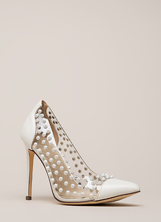 Spike It Rich Pointy Clear Pumps