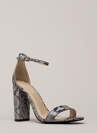 Snake Things Up Chunky Ankle Strap Heels