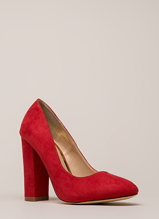 Obvious Choice Chunky Vegan Suede Pumps
