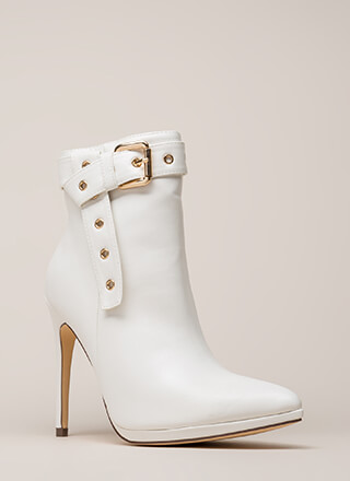 Strap To It Pointy Buckled Booties