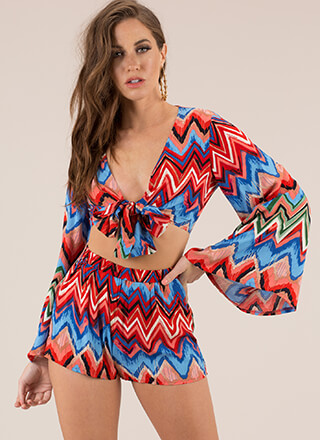 Vintage Vibes Zigzag Top And Shorts Set