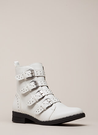 Get The Straps Studded Combat Boots