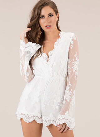 Lovely In Lace Scalloped Romper