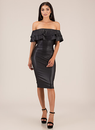 Have An Edge Ruffled Off-Shoulder Dress