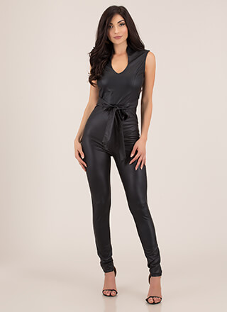 Fit In Perfectly Faux Leather Jumpsuit