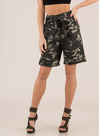 Outranked Belted Camo Bermuda Shorts