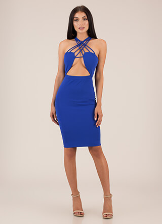 Strappy Night Out Cut-Out Midi Dress
