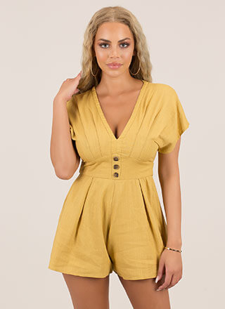 Pleating Lady Tied Flared Romper