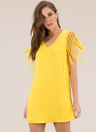 Fringe Worthy Moment Shift Minidress