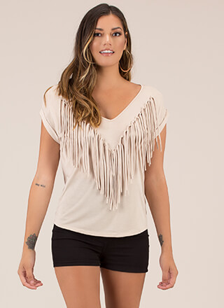 Knotty List Fringed Dolman Top
