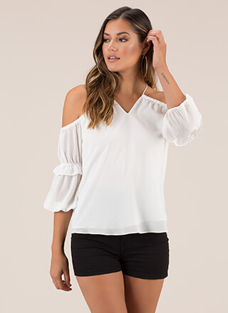 Ruffled Romance Cold-Shoulder Top