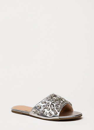 Glass Slipper Jeweled Slide Sandals