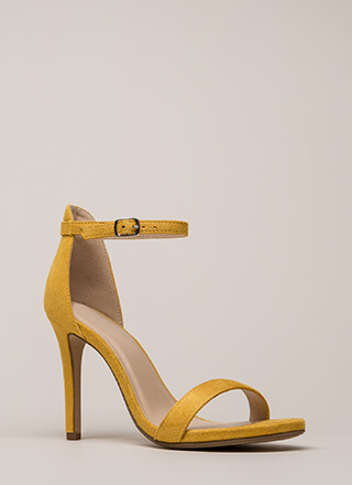 Say Yes Faux Suede Ankle Strap Heels