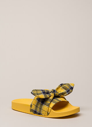 Girls Gone Plaid Tied Bow Slide Sandals