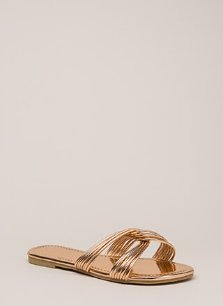 Loop Dreams Strappy Metallic Sandals